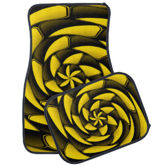 High contrast black and yellow car floor mat