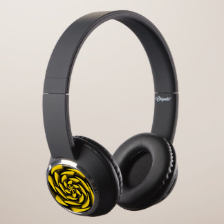 High contrast black and yellow headphones
