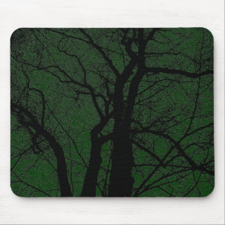 High Contrast Tree - Dark Green Mouse Pad
