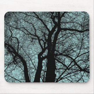 High Contrast Tree - Light Blue Green Mouse Pad
