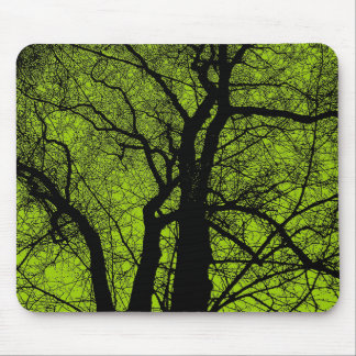 High Contrast Tree - Martian Green Mouse Pad