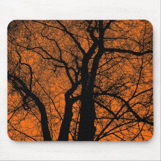 High Contrast Tree - Orange Mouse Pad