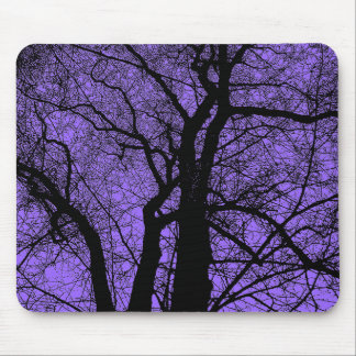 High Contrast Tree - Purple Mouse Pad