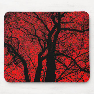 High Contrast Tree - Red Mouse Pad
