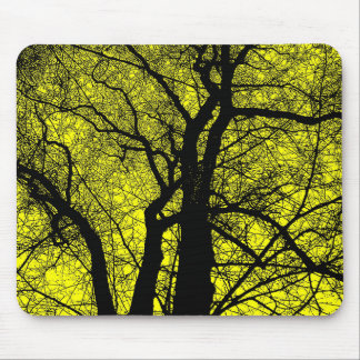 High Contrast Tree - Yellow Mouse Pad