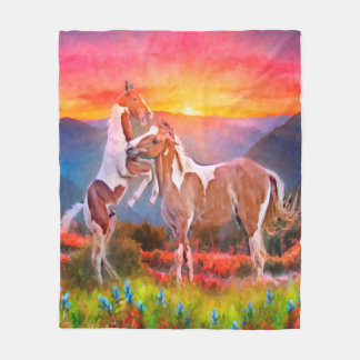 High Country Horses Fleece Blanket