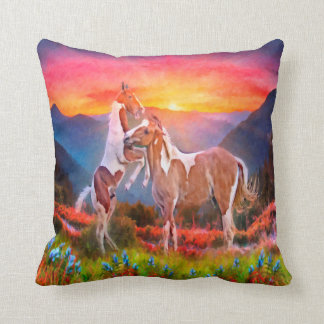 High Country Horses Throw Pillows