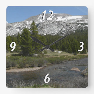 High Country Mountain Stream II Yosemite Park Square Wall Clock
