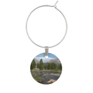 High Country Mountain Stream III Yosemite Park Wine Glass Charm