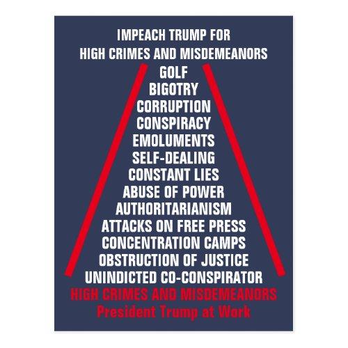 High Crimes and Misdemeanors List Impeach Trump Postcard