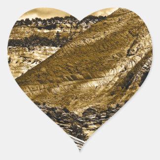HIGH DESERT LANDSCAPE IN ANTIQUE SEPIA HEART STICKER