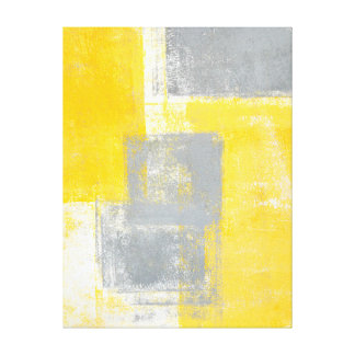 'High Dive' Grey and Yellow Abstract Art Canvas Print