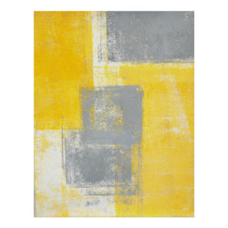 'High Dive' Grey and Yellow Abstract Art Poster