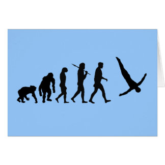 High divers evolution of man diving water sports greeting card