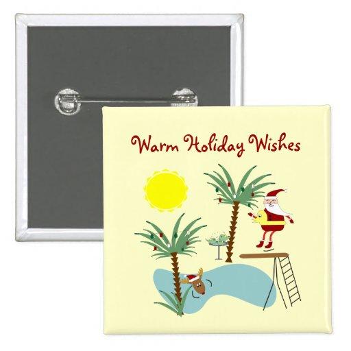 High Diving Santa Holiday Button
