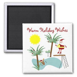 High Diving Santa Holiday Magnet