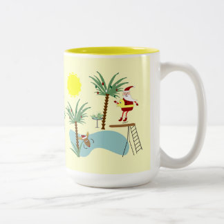 High Diving Santa Holiday Mug