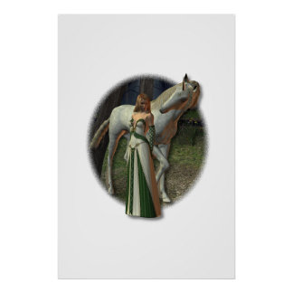 High Elf and her Unicorn Poster