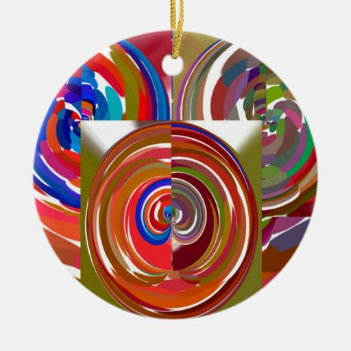 High Energy Color Mania Circles Double-Sided Ceramic Round Christmas Ornament