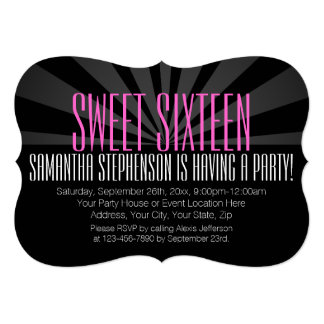 "High-Fashion Spotlight Sweet 16 Party Invitations 5"" X 7"" Invitation Card"