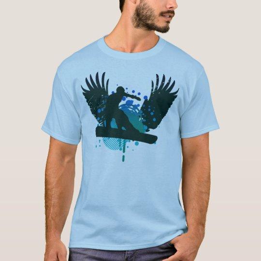 high-fi snowboarding. ocean fade w/ teal. T-Shirt