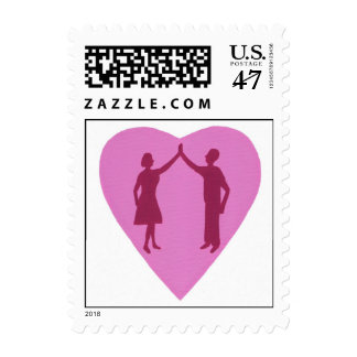 High five,couple silhouette Pink heart stamps