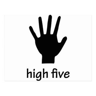 high five hand postcard