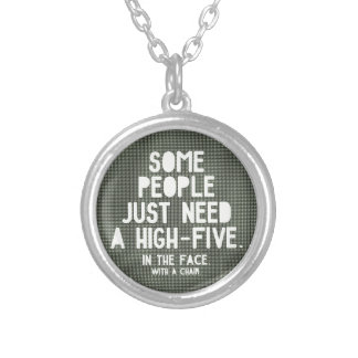 High-five Round Pendant Necklace