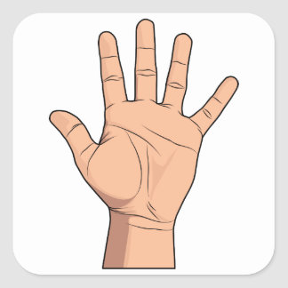High Five Open Hand Sign Five Fingers Gesture Square Sticker