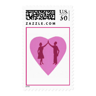 High Five with male and female, win win design Postage