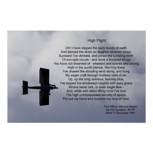 """poem high flight The """"high flight"""" poem is laser engraved onto a color metal plate and mounted on the plaque's center two lines personalized text included engraved plate."""