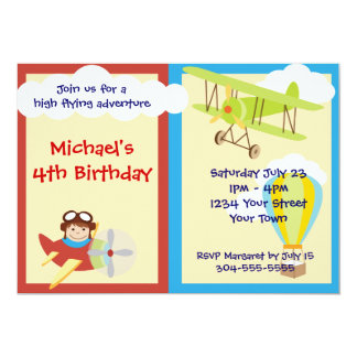 High Flying Adventure Birthday Party 5x7 Paper Invitation Card