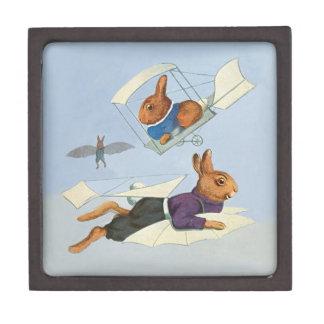 High-Flying Bunny Rabbits - Cute Vintage Animals Premium Trinket Box