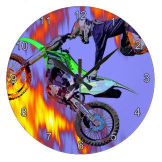 High Flying Freestyle Motocross Rider Clock