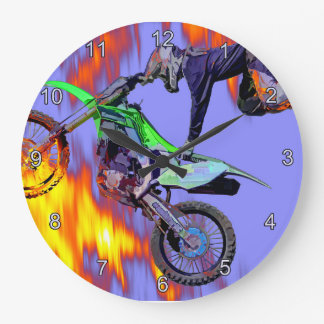 High Flying Freestyle Motocross Rider Large Clock
