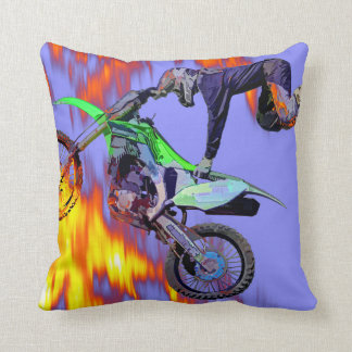High Flying Freestyle Motocross Rider Throw Pillow