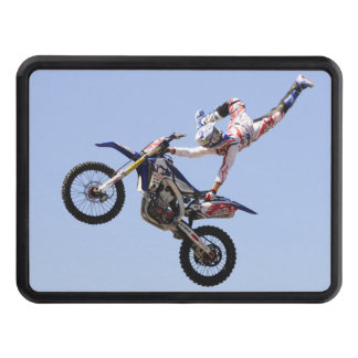 High flying freestyle motocross rider tow hitch cover