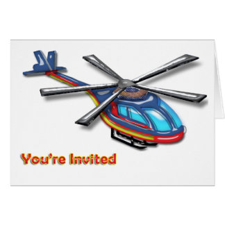 High Flying Helicopte Invite Card