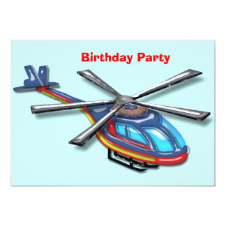 High Flying Helicopter Birthday Party Card