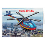 High Flying Helicopter over City Happy Birthday Greeting Cards