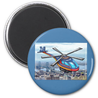 High Flying Helicopter Over Highways 2 Inch Round Magnet