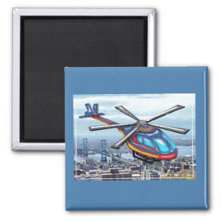 High Flying Helicopter Over Highways 2 Inch Square Magnet
