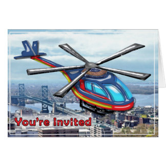 High Flying Helicopter Over Highways Invited Card