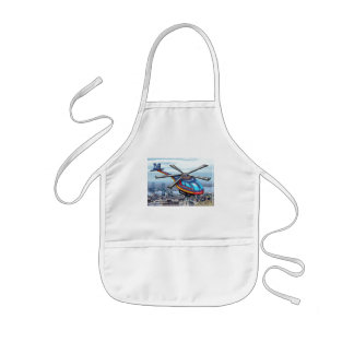 High Flying Helicopter Over Highways Kids' Apron