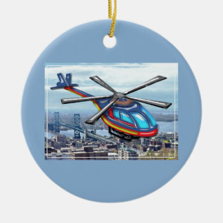 High Flying Helicopter Over Highways Double-Sided Ceramic Round Christmas Ornament