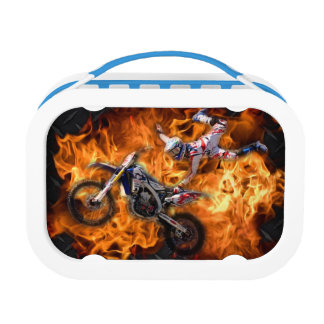 High flying motocross rider fly's through fire lunch box