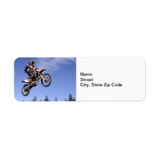 High flying motocross rider label