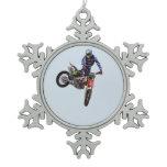 High Flying Motocross Snowflake Pewter Christmas Ornament