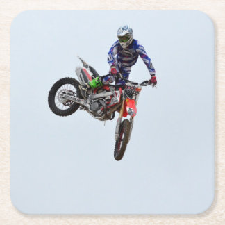 High Flying Motocross Square Paper Coaster
