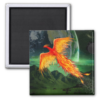 High Flying Phoenix 2 Inch Square Magnet